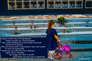 What a full day of impressions Tiled across my consciousness  This child looking at a terrorist's attack memorial in Berlin Plus so many other memorials I saw this week  A city of memorials Tomorrow we will pick more flowers  Light more candles Be happy for life in Berlin And that we are not a memorial