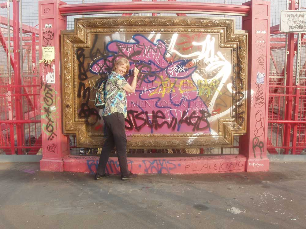 Narda and graffiti on the Williamsburg Bridge, Brooklyn