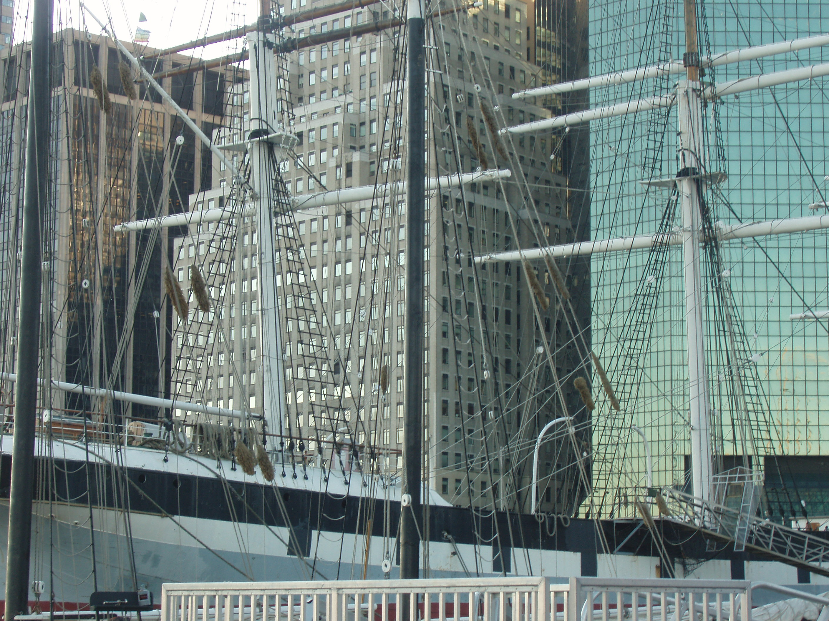 tall ships with Manhattan as a background