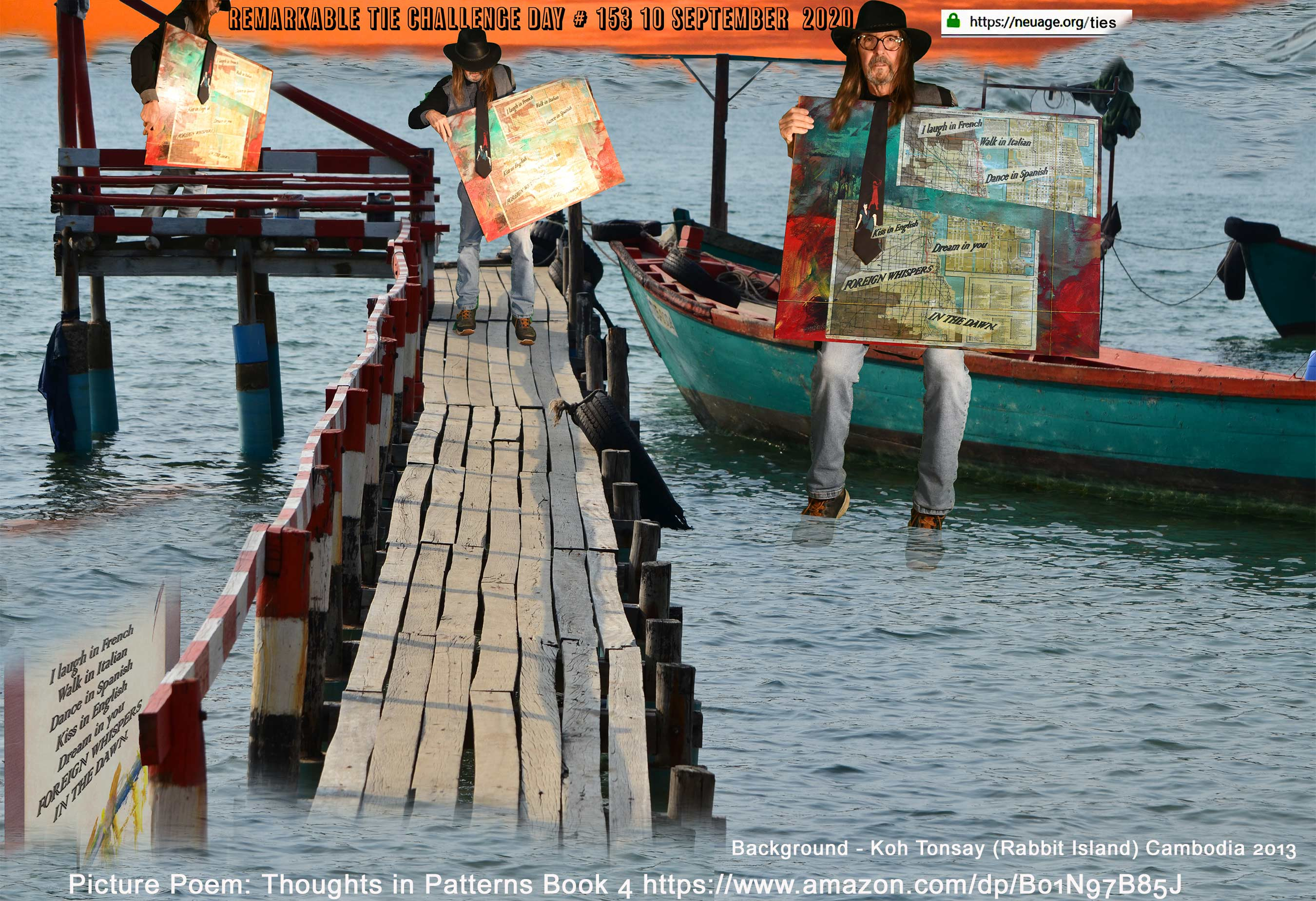 """day 153 - Background, Koh Tonsay (Rabbit Island) Cambodia. 2013. """"I laugh in French"""" – Book 4  Thoughts in Patterns"""