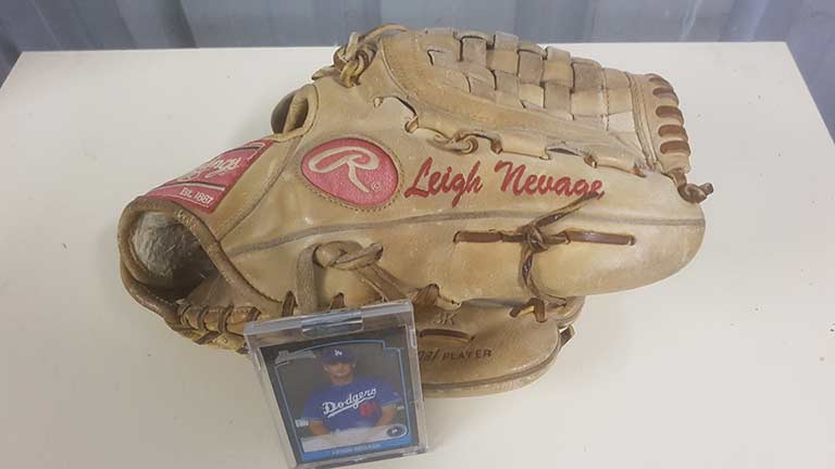 baseball glove of in menory of Leigh Neuage